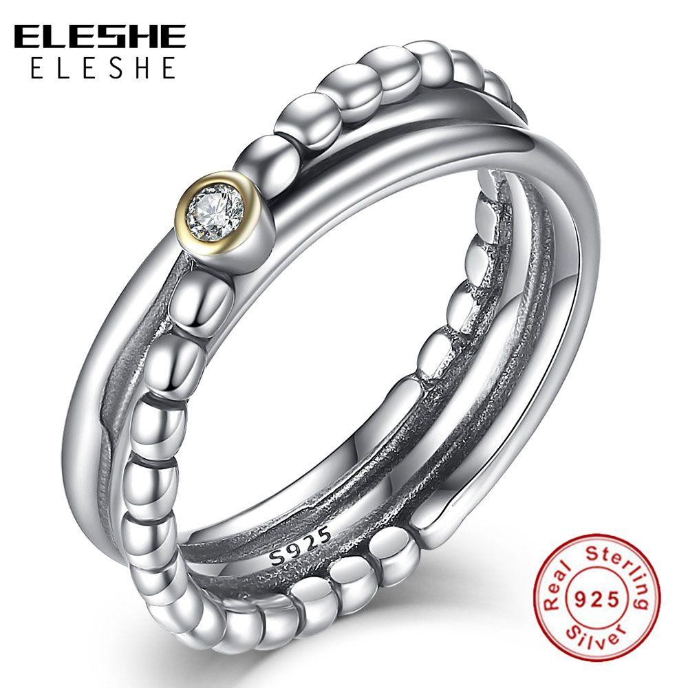 ELESHE Bijoux de fiançailles de mariage accessoires zircon cubique anneau croisé perlé 925 anneaux en argent Sterling pour les femmes Bijoux