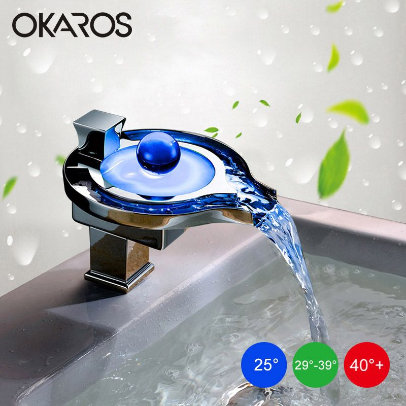 OKAROS LED Faucet LED Bathroom Basin Faucet Brass Chrome Finished LED Waterfall Taps Water Power Basin Led Tap Mixer Torneira