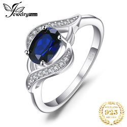 JewelryPalace 1.1ct Created Blue Sapphire Statement Halo Ring 925 Sterling Silver Rings Gemstone Jewelry for Women