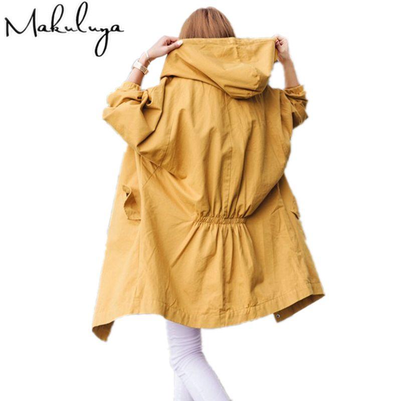 Makuluya Autumn spring winter women New fashion loose BF style long hooded  windbreaker coats female frock BKJW
