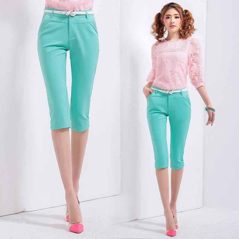 4 Candy Color 2017 Spring Summer Women Stretch Casual Cotton Cloth Women's Capris Pant Slim Knee Length Trousers For Women