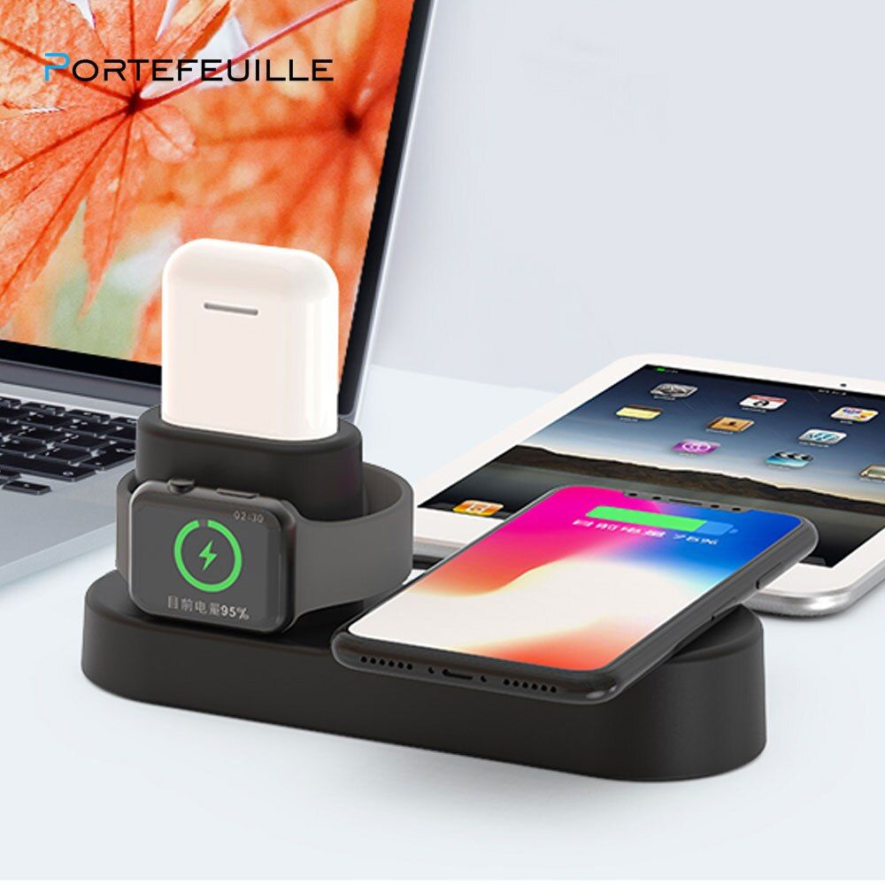 Portefeuille 4in1 Qi Sans Fil Chargeur Dock Stand Pour Apple iwatch Montre 3 2 iPhone XS Max XR X 8 Plus wireless station d'accueil