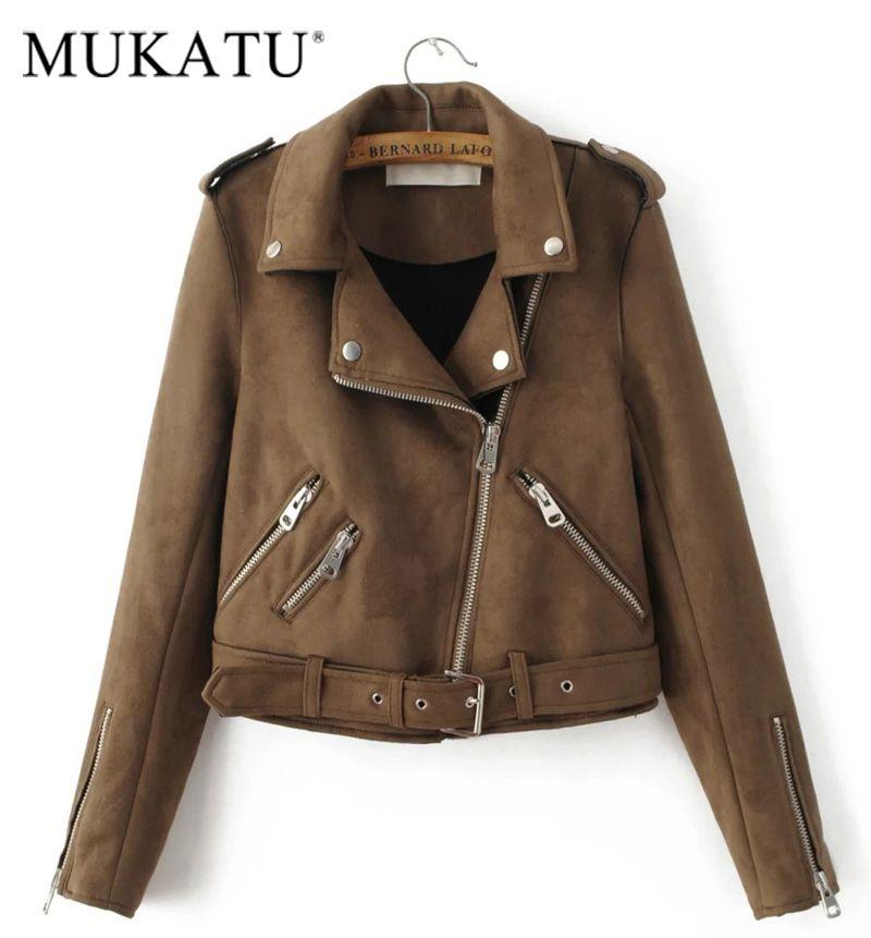 MUKATU New Fashion Women suede motorcycle jacket Slim brown full lined soft faux Leather female coat epaulet zipper
