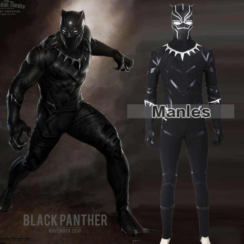 Black Panther Costumes Captain America Civil War Black Panther T'Challa Cosplay Halloween Costume Adult Men