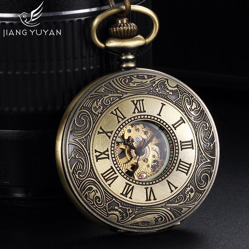 Световой Рим Стиль Самовзводные механические карманные Часы для Для мужчин Для женщин W 36 см цепочка Элитный бренд Модные античный подарок
