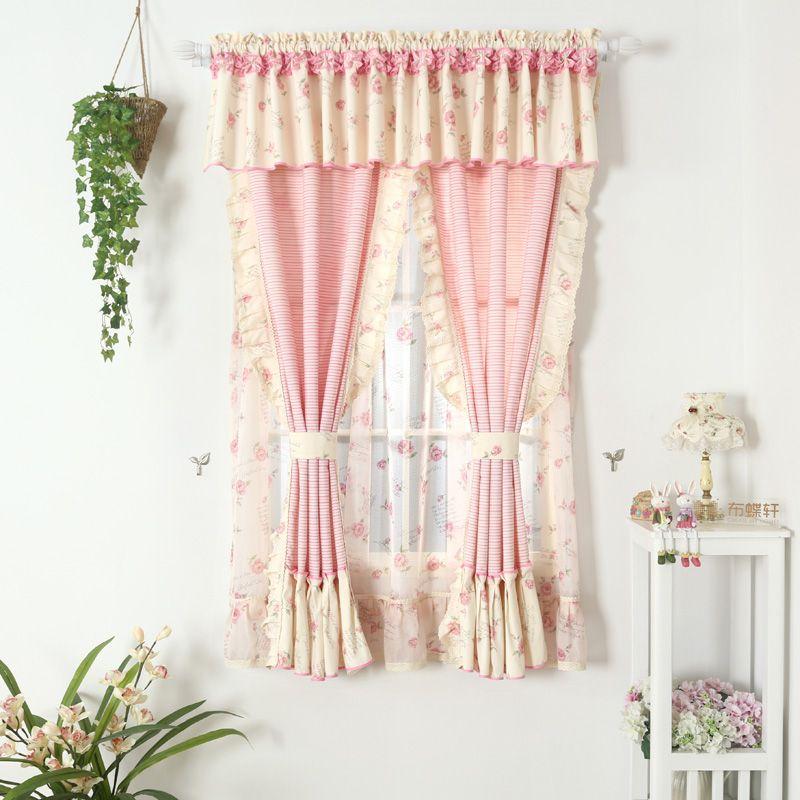 Rose Rideaux Tissu Pour Salon Fille Draperie Modèles Dentelle Courte Fenêtre Panneaux Fleur Rustique À Court Rideau De Mariage