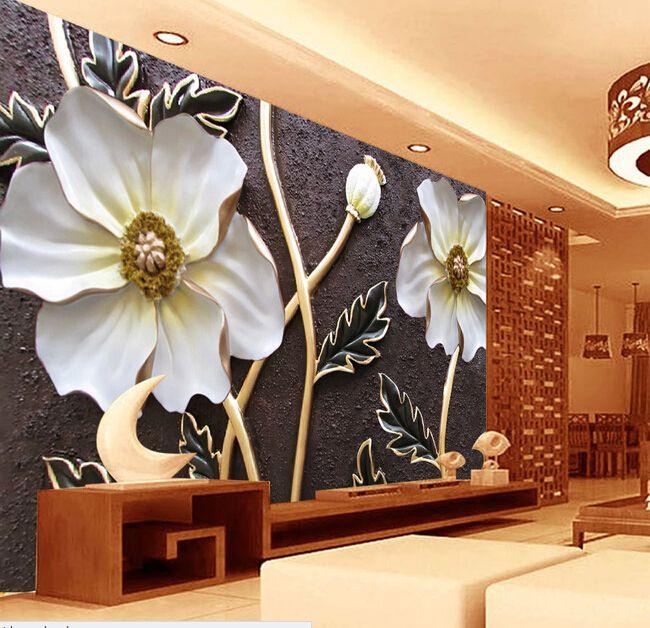 Custom wallpaper for walls 3 d,embossed flower murals for the bedroom living room TV wall waterproof vinyl papel DE parede