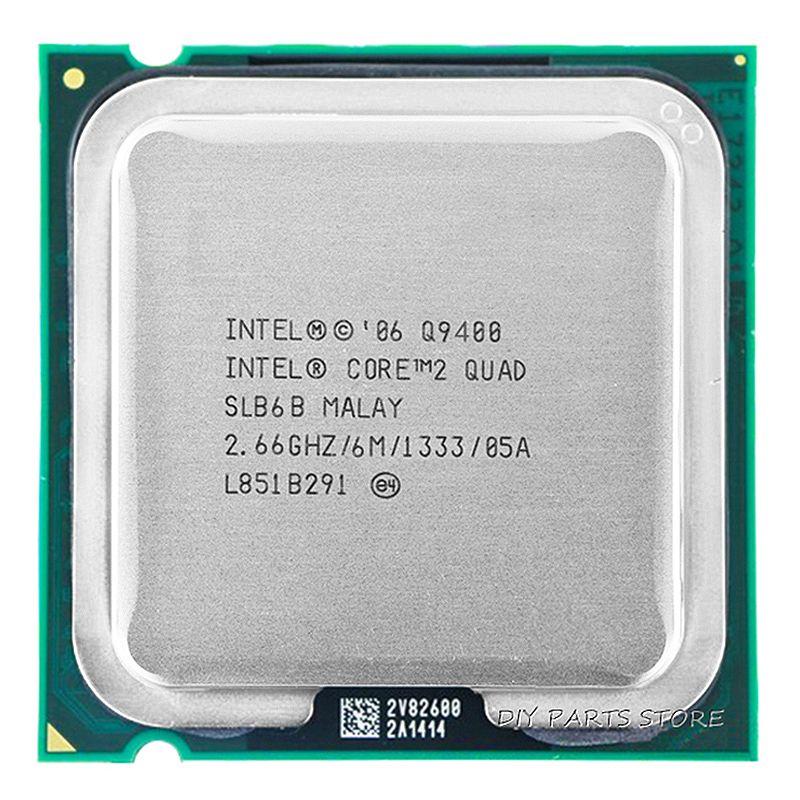 4 cœurs INTEL core 2 Quad Q9400 Socket LGA 775CPU INTEL Q9400 processeur 2.66 Ghz/6 M/1333 GHz)