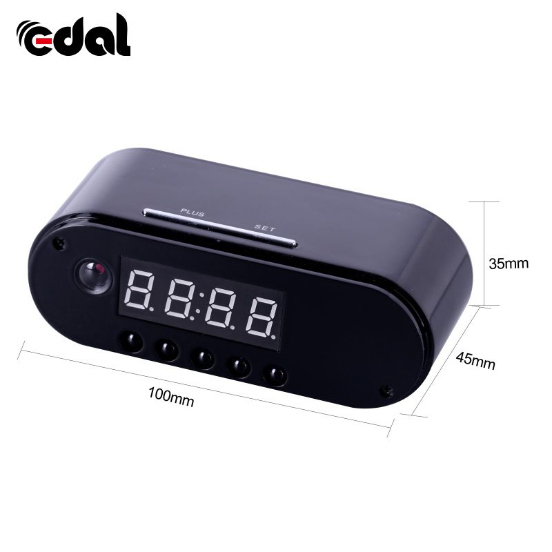 EDAL 1080P H.264 Table Clock Camera Alarm Set Mini Camera IR Night Vision Wifi IP Clock Camera Mini DV DVR Camcorder Wifi Webcam