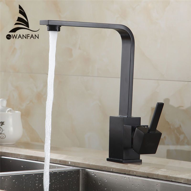 Kitchen Faucets Brass Kitchen Sink Water Faucet 360 Rotate Swivel Faucet Mixer Single Holder Single Hole Black Mixer Tap 7115