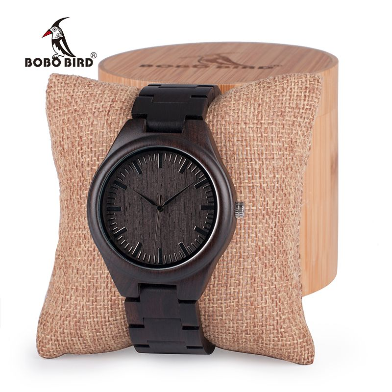 BOBO BIRD Mens Black Ebony Wooden Watches Wood Links Causal Quartz Wrist Watch in Gift Box custom logo