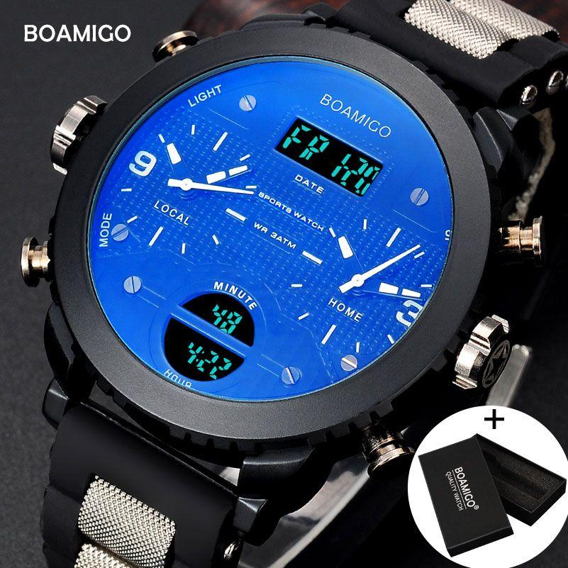 Männer uhren BOAMIGO marke 3 zeit zone military sport uhren männlichen LED digital quarz armbanduhren geschenk box relogio masculino