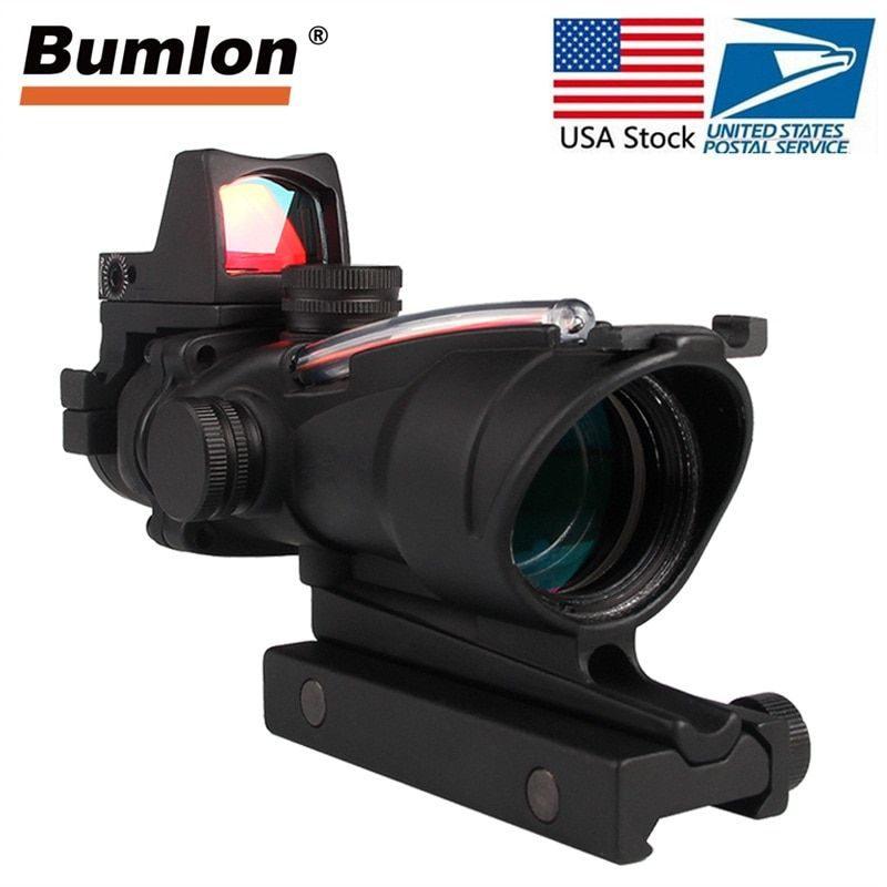 Tactical Riflescope 4X32 Rifle Scope W/Real Red Green Fiber Mini Red Dot Sight For Airsoft Hunting Shooting Rifle RL6-0058