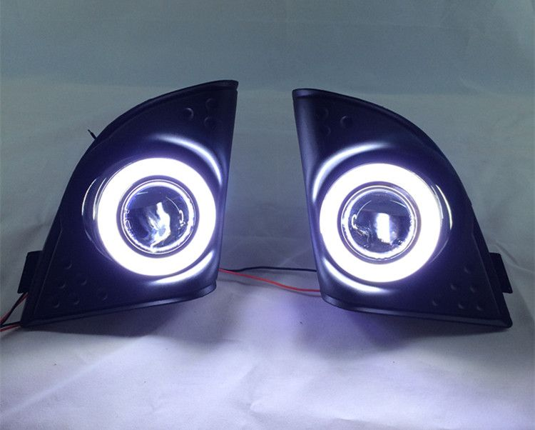 eOsuns COB angel eye led daytime running light DRL + halogen Fog Light + Projector Lens for honda accord 2008-2015, black base