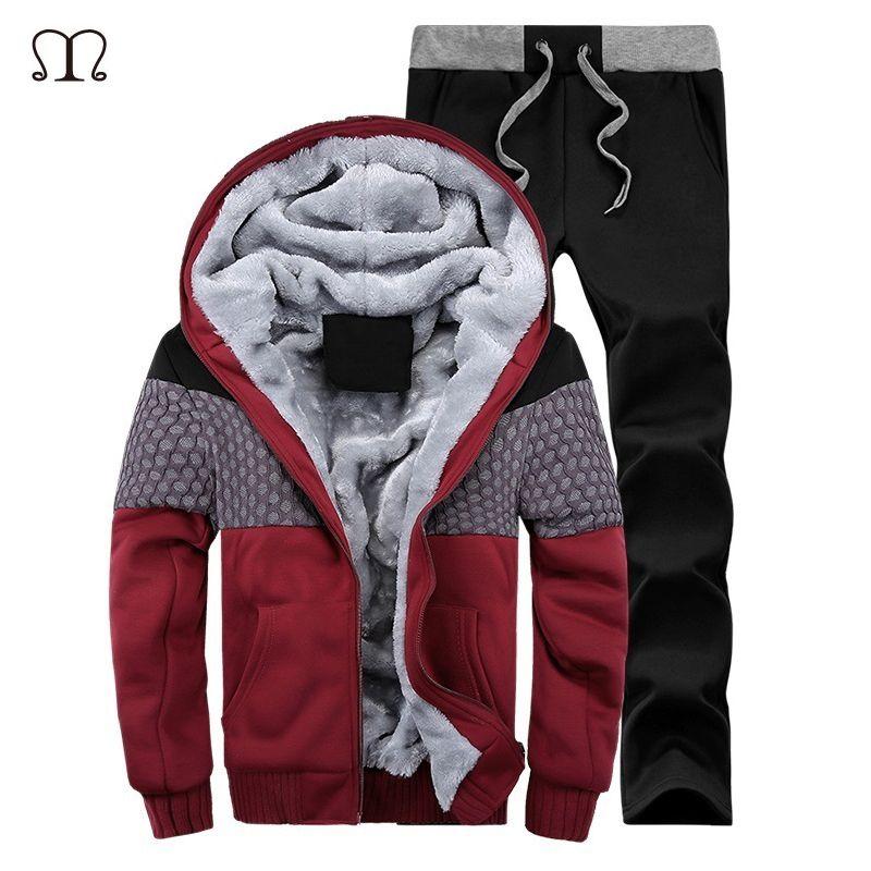 2017 New Brand Autumn Winter Warm Suit Thick Velvet Solid Men Tracksuit Soft Shell Mens Track suits Plus Size Jacket & Pant Sets