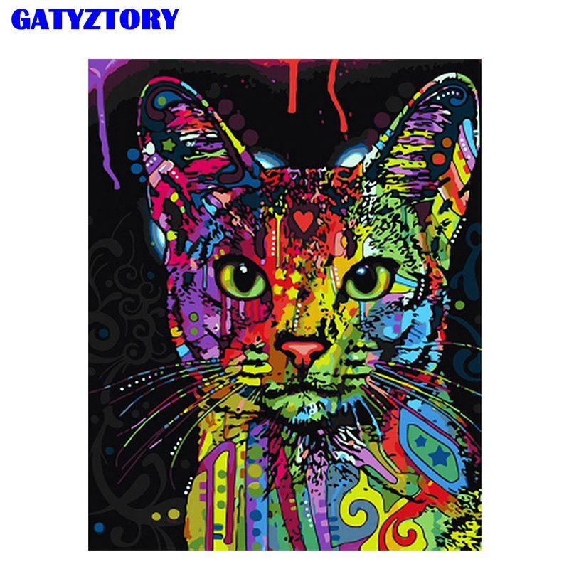 Sans cadre Abstrait Coloré Chat Animaux BRICOLAGE Peinture By Numéros Peints À La Main Peinture À L'huile Pour Mur Art Photo Décoration