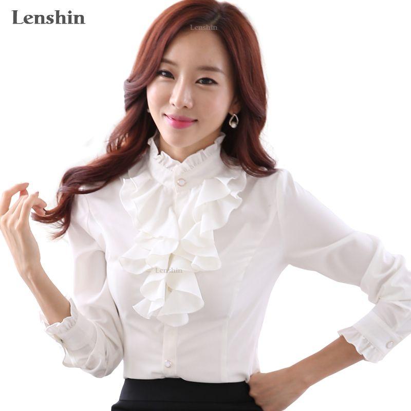 Lenshin Blouse blanche mode femme manches décontracté élégant col à volants bureau montre de sport tenue de femme
