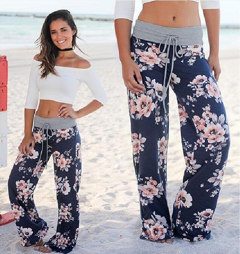 Drop ship Women Summer 2019 Streetwear High Waist Pants Elastic Casual Drawstring Long Trousers