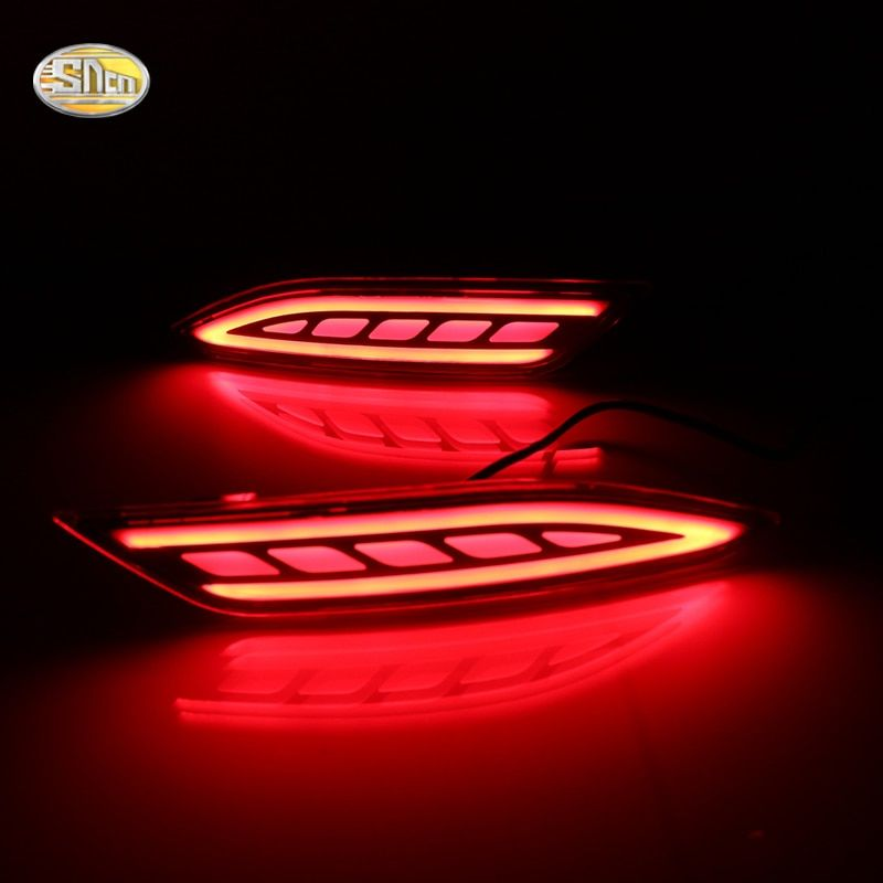 SNCN LED rear bumper Reflectors lamp for Honda HR-V HRV 2015 2016 2017 Rear fog lamp driving turning braking light