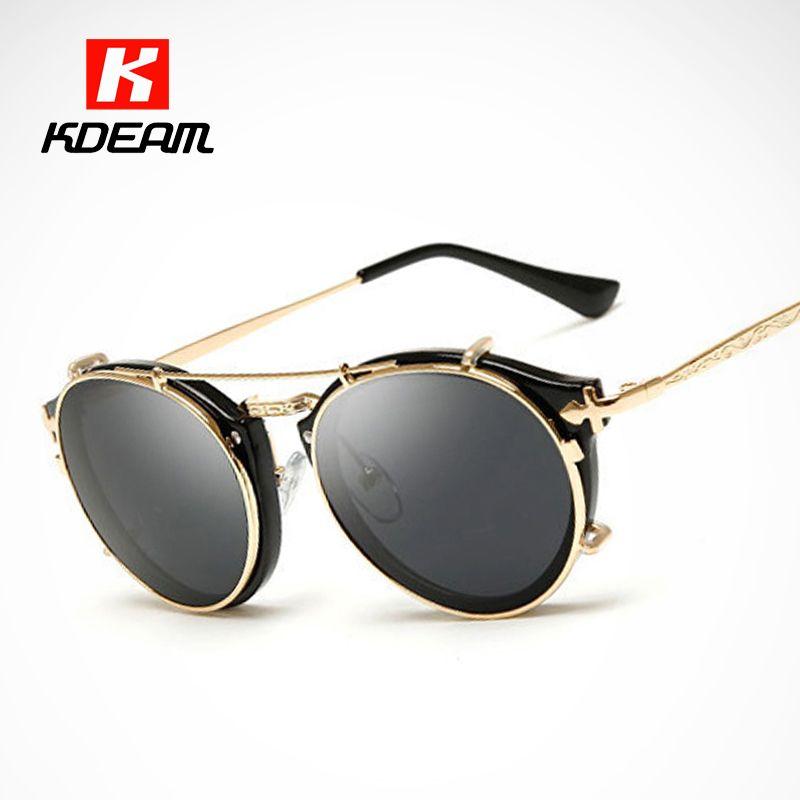 Kdeam Happy <font><b>Clip</b></font> On Sunglasses Men Removable Round Glasses Women Carve Design Sunglass With Brand Box CE