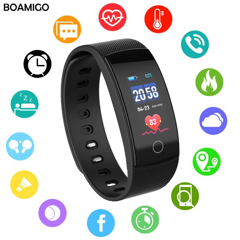 smart watches BOAMIGO brand bracelet wristband <font><b>bluetooth</b></font> heart rate message reminder Sleep Monitoring for IOS Android phone