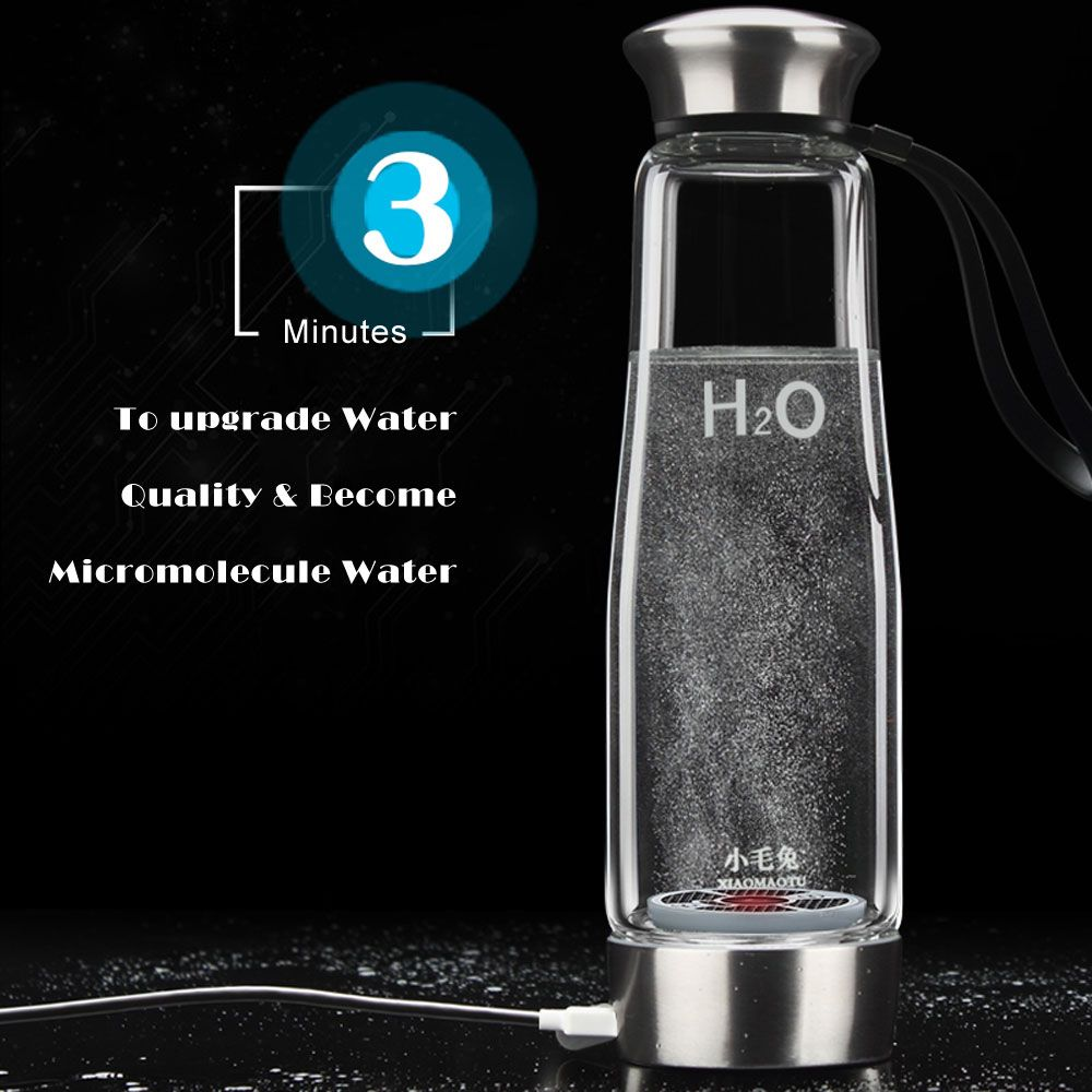 500ML Hydrogen Rich Ionizer Glass Water Bottle with Portable BPA-free Business Water Ionizer Glass Bottle Self-cleaning Function