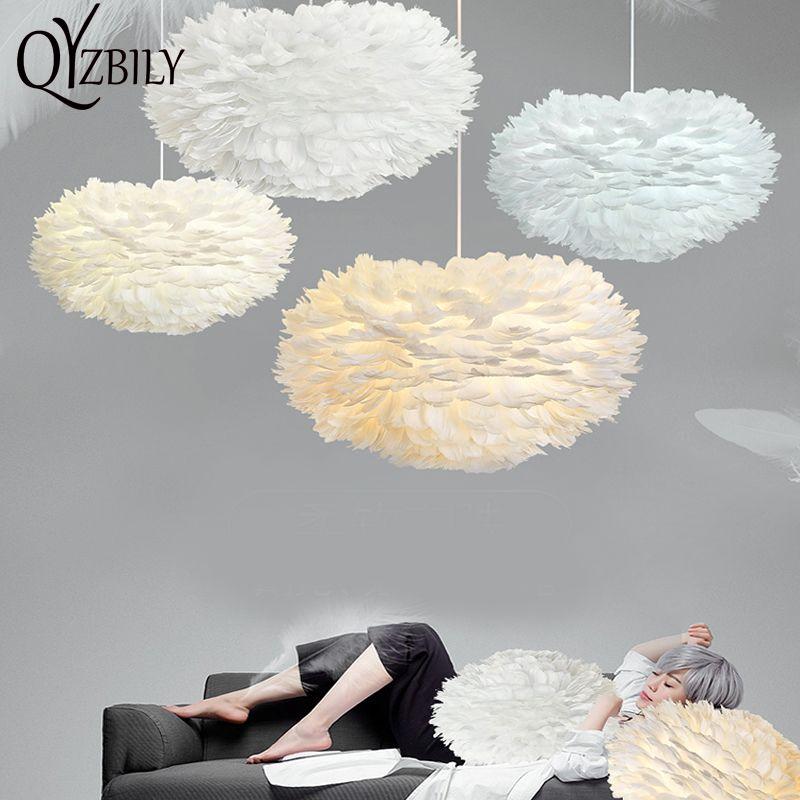 Anhänger lichter weiß Feder E27 plume Lichter led Kunst Dekorative Droplight romantische schlafzimmer Hängen Lampe natur Gans feder