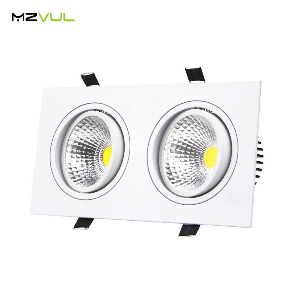 Recessed LED Ceiling Downlight 10W 14W 18W 24W Dimmable 2 Head Square COB Downlight AC110V 220V LED Down light LED Spot lights