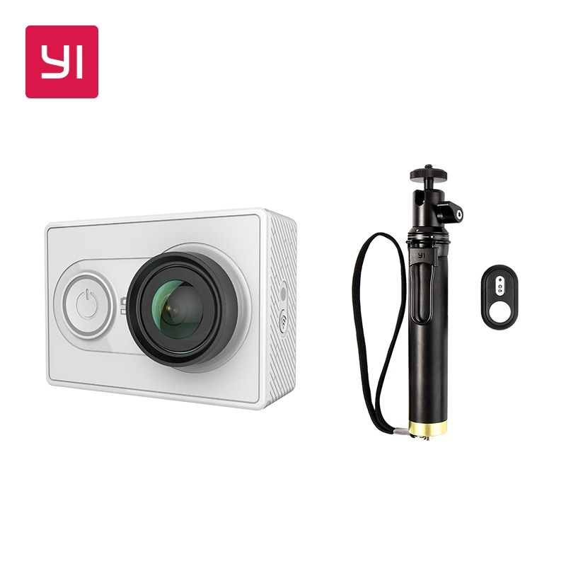 YI 1080P Action Camera White With Selfie Stick Bundle Mini Sport Camera High-Resolution WiFi and Bluetooth