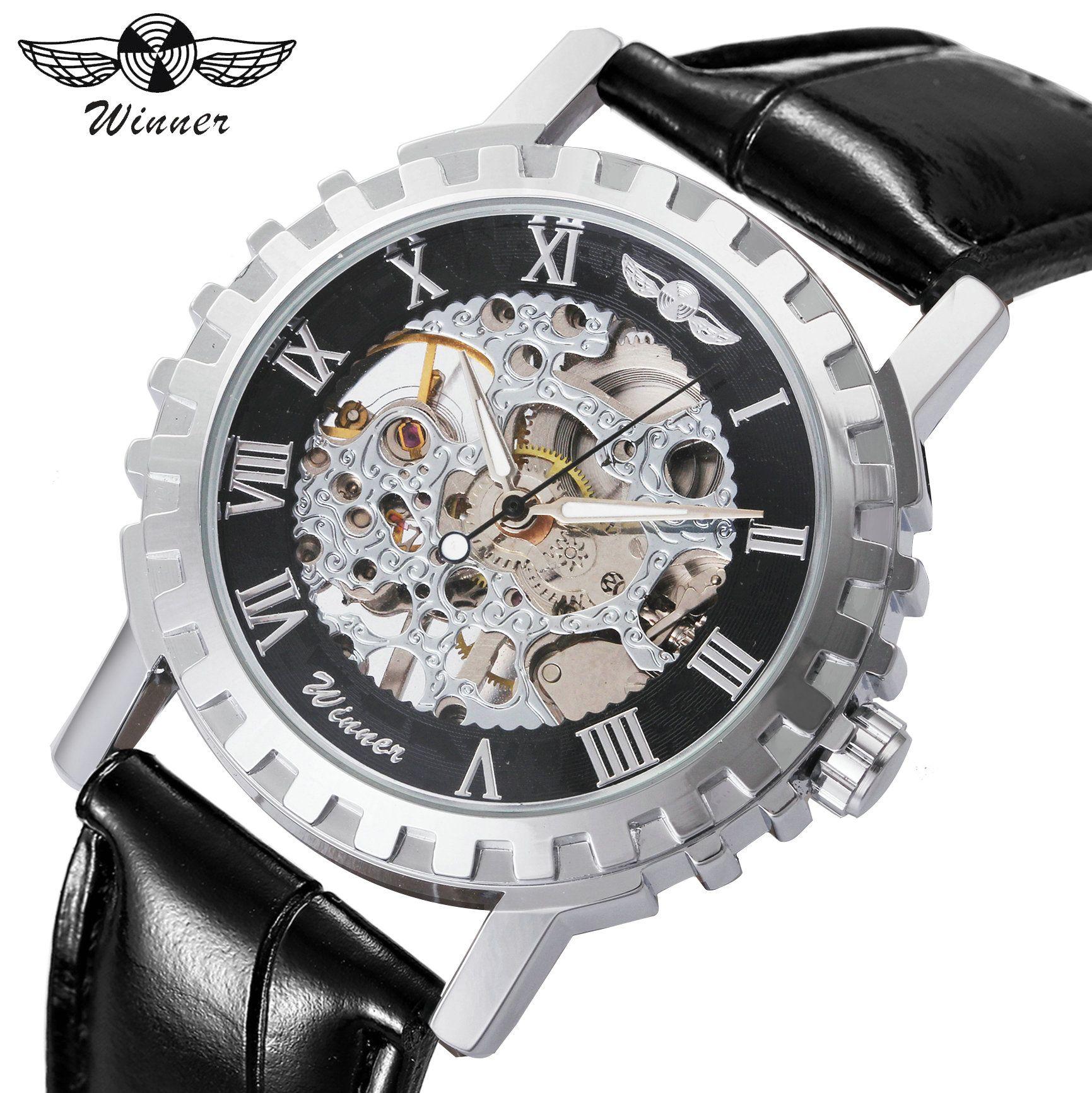 WINNER Fashion Casual Mechanical Mens Watches Top Brand Luxury Skeleton Dial Gear Bezel Leather Strap Wristwatch Hot Sale Clock