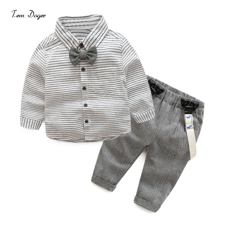 2017 New Arrival Baby Boys Autumn Casual Clothing Sets Baby Kids Gentleman Bow Clothing Sets Shirt+overalls 2-Piece Suit Set