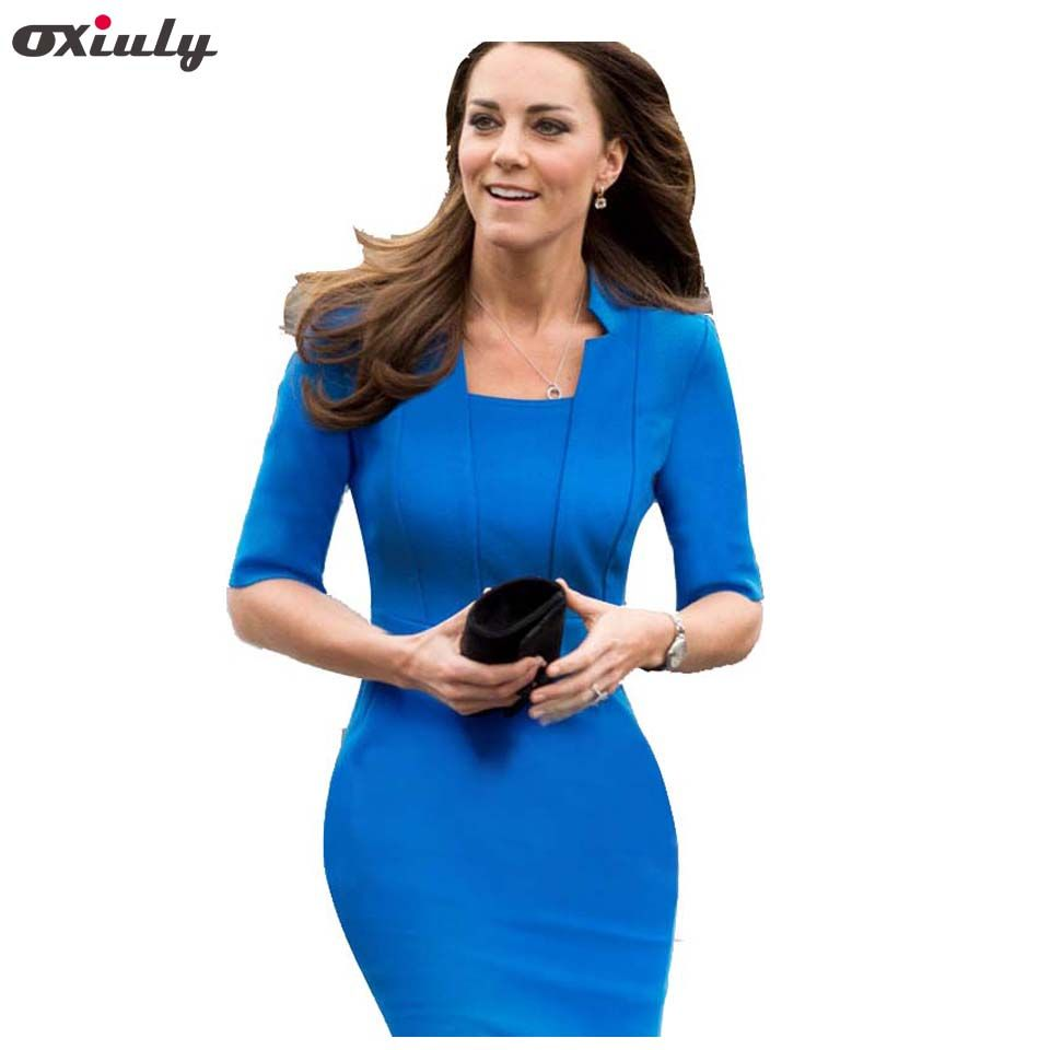 Oxiuly Dropshipping Mode Femmes Col Carré Retour Zipper Élégant Bleu Extensible Moulante Genou-Longueur Porter au Travail Carrière Robe