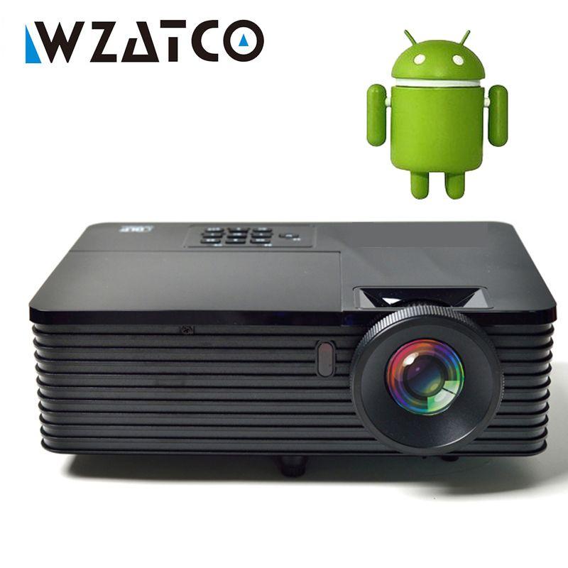 WZATCO 6000 lumen HDMI USB Android 7.1.2 WiFi Smart Daten Zeigen 1080 P 3D DLP Projektor Tageslicht HD Beamer Proyector für treffen