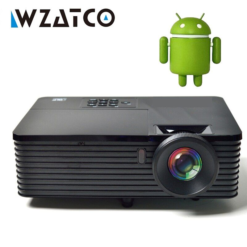 WZATCO 6000lumen Android 9.0 WiFi Smart Daten Zeigen 1080P 3D DLP Projektor 300 zoll Tageslicht Volle HD Beamer Proyector für Treffen