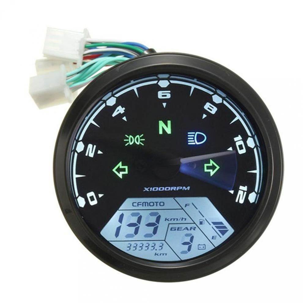ABS Material Digital 12V Universal Digital Motorcycle Speedometer Odometer Gauge Backlit Dual Speed meter with LED Indicator