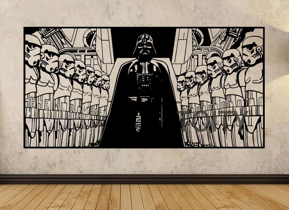 STAR WARS Affiche Darth Vader et Tempête Troopers Mur Art Autocollant Film Decal Vinyle Murale Décor H57cm x W113cm