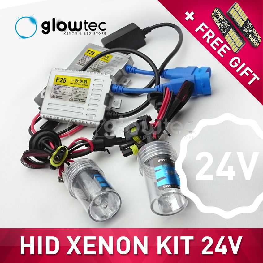 24V 55W HEADLIGHT HID XENON KIT SLIM BALLAST truck light H7 H3 H7 H8 H9 H11 9006 6000K 4300K 8000K all colors FREE GIFT GLOWTEC