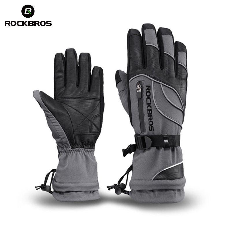 ROCKBROS Winter Ski Gloves Waterproof Windproof Touch Screen Snowboard Gloves Motorcycle Fleece Thermal Skiing Men Women Gloves