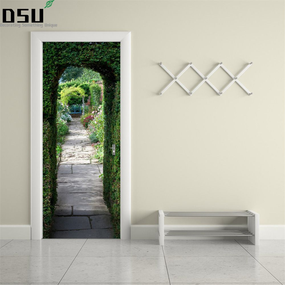 3D DIY Green Plant Pattern Wall Door Stickers Mural Poster PVC 2pcs/set Waterproof Door Decal Refrigerator Sticker Home Decor