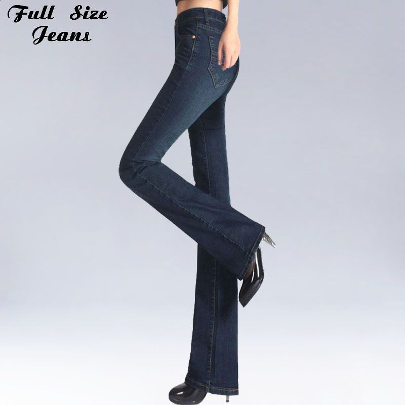Printemps Slim coupe grande taille Flare Jeans taille moyenne Stretch Skinny Jean Vintage Bell-Bottom pantalon en Jean XXL 4XL 5XL XS 6XL