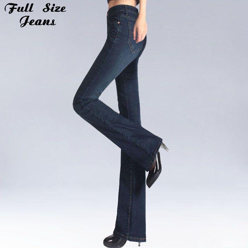 Printemps coupe étroite grande taille Flare Jean taille moyenne Stretch Jean moulant Vintage bell-bas pantalon Denim pantalon XXL 4XL 5XL XS 6XL