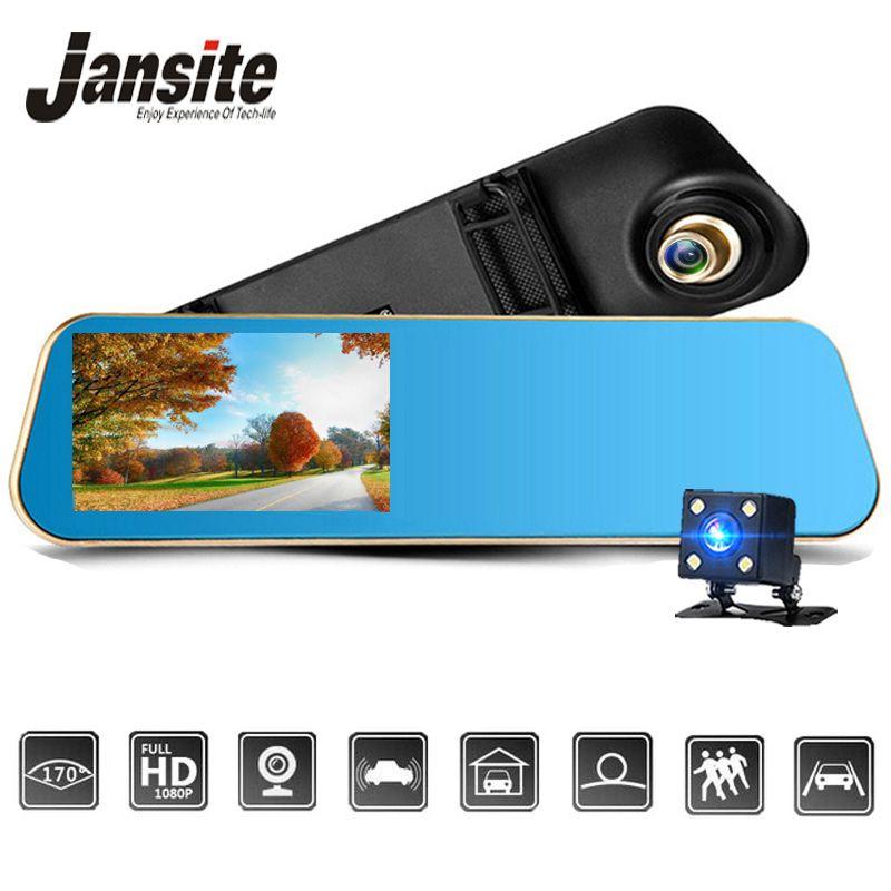 <font><b>Jansite</b></font> Car DVR 1080P Dual cameras rearview Car camera mirror Dash cam Auto Registrator record Automatic coverage
