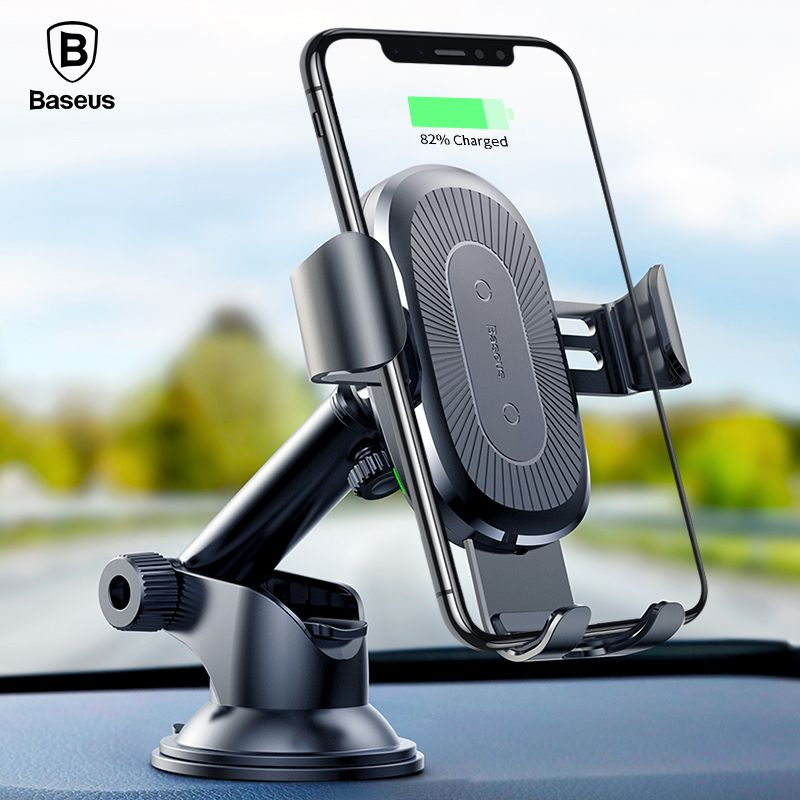 Baseus 2in1 Qi Wireless Car Charger Holder for iPhone X 8 Samsung S9 QI Wireless Charging Quick Charger Car Mount Phone Holder