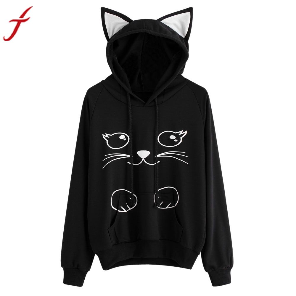 Feitong Top Brand Funny Cat Ear Hoodie Sweatshirt Womens Printed Long Sleeve Hooded Pullover Oversized Hoodie Tops Winter Autumn