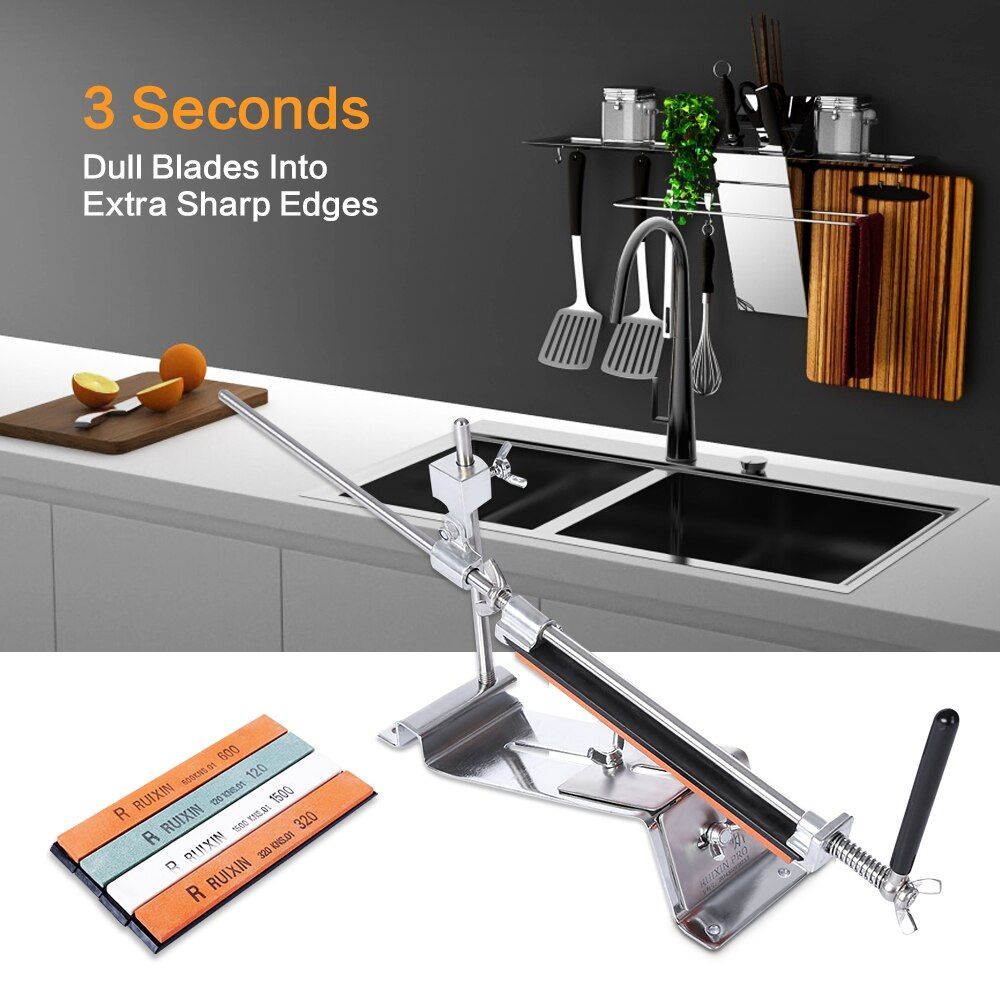 RUIXIN PRO III Knife Sharpener Professional All Iron Steel Kitchen Sharpening System Tools Fix-angle With 4 Stones Whetstone