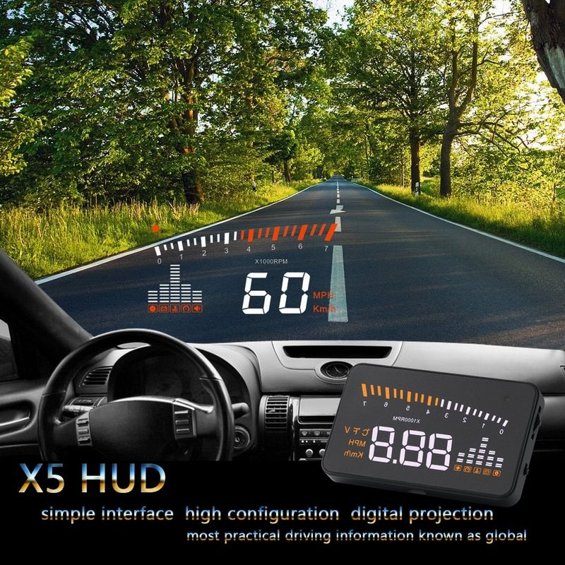 Car hud head up display X5 3 Car-styling Universal speedometer Over-speed Alarm Digital car speedometer Windshield Project