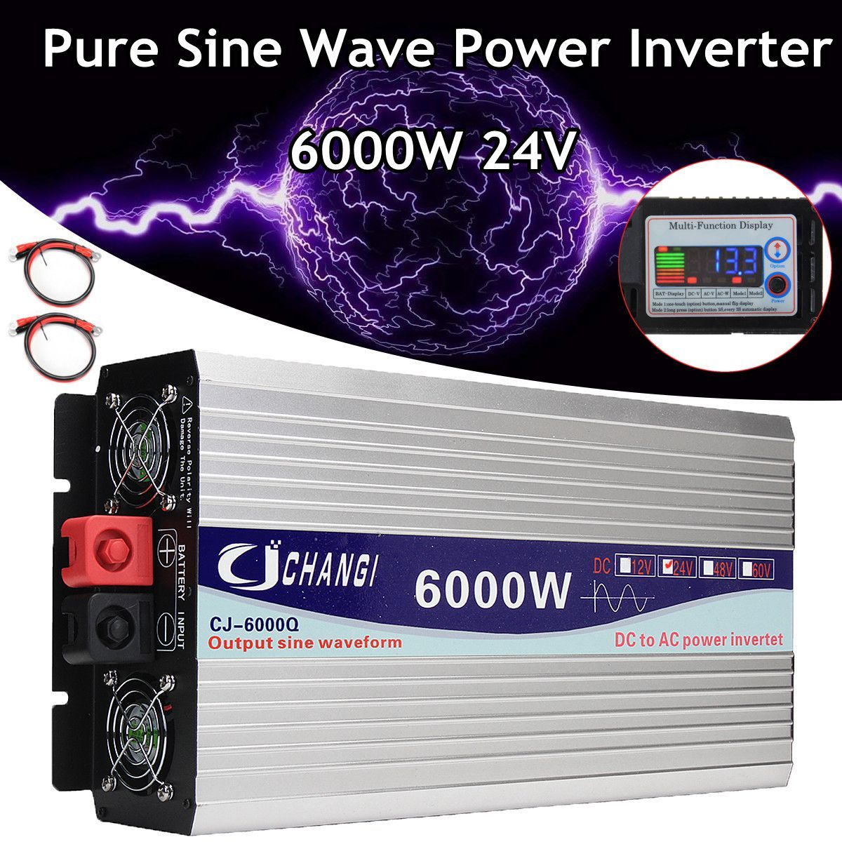 Intelligente Screen Reine Sinus Welle Power Inverter 12 v/24 v Zu 220 v 3000 watt/4000 watt /5000 watt/6000 watt Konverter Adapter LCD Bildschirm