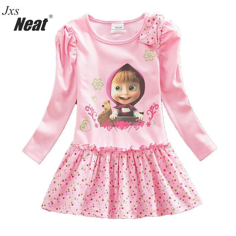 NEAT 2017 Retail baby girl long sleeve dress fashion pink print pattern dot bow girl 100% cotton dress children's clothing H5306