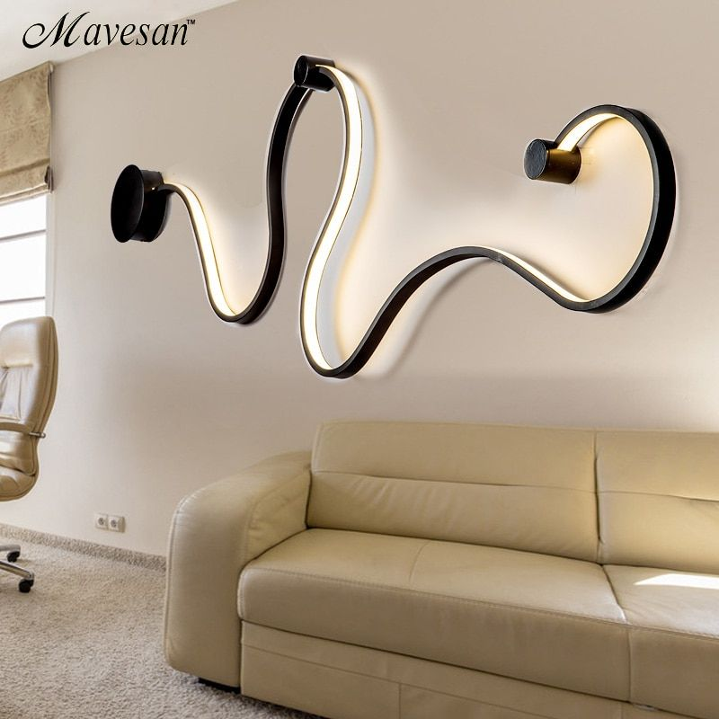 simple creative wall lamps with white or balck color for bedroom bedside decoration Nordic designer living room corridor hotel