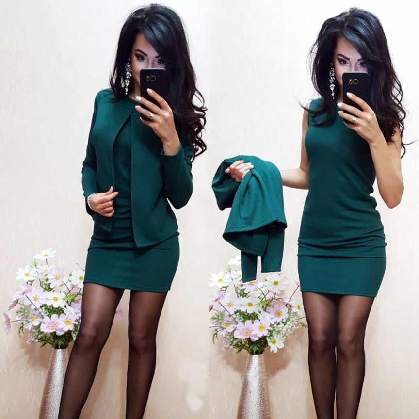Women Sets 2017 New Arrival Fashion Autumn Suits Sexy Sheath O-Neck Above Knee Mini Dress Full Sleeve Casual Coat Two Pieces
